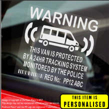 4 x PERSONALISED Van GPS Dummy Fake Security Stickers Tracker Signs Ford VW Transit Delivery Courier